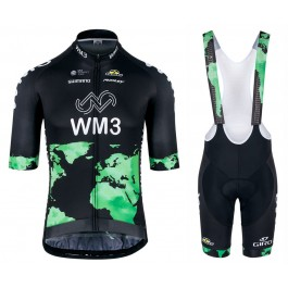 2017 Team WM3 Black Cycling Jersey And Bib Shorts Kit