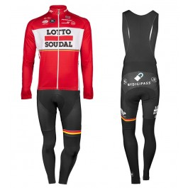 2017 Lotto-Soudal Red Long Sleeve Cycling Jersey And Bib Pants Kit