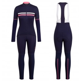 2017 Rapha Brevet Blue-Pink Women Long Sleeve Cycling Jersey And Bib Pants Kit