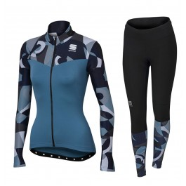 2017 Sportful Primavera Blue Women Long Sleeve Cycling Jersey And Pants Kit