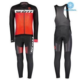 2017 Scott RC Black-Red Thermal Cycling Jersey And Bib Pants Kit