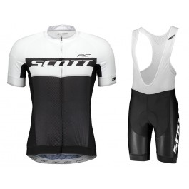 2018 SCOTT RC Black-White Cycling Jersey And Bib Shorts Kit