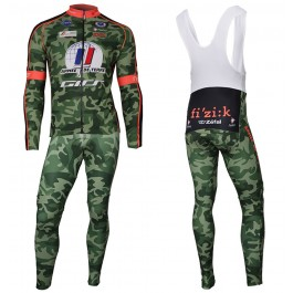2018 Armee De Terre Camouflage Long Sleeve Cycling Jersey And Bib Pants Kit