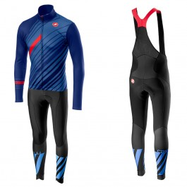 2018 Castelli Cielo Black Blue Long Sleeve Cycling Jersey And Bib Pants Kit