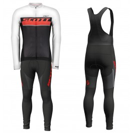 2018 Scott-RC Whte-Red-Black Long Sleeve Cycling Jersey And Bib Pants Kit