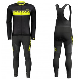 2018 Scott-RC Black-Yellow Long Sleeve Cycling Jersey And Bib Pants Kit