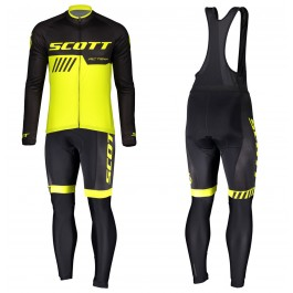2019 Scott-RC-Team Black-Yellow Long Sleeve Cycling Jersey And Bib Pants Kit