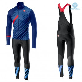 2018 Castelli Cielo Black Blue Thermal Cycling Jersey And Bib Pants Kit