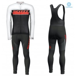 2018 Scott-RC Whte-Red-Black Thermal Cycling Jersey And Bib Pants Kit