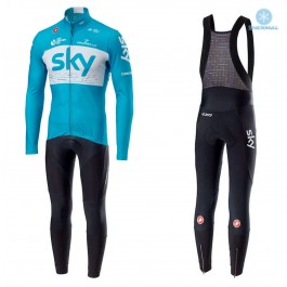 2018 SKY Team Blue Thermal Cycling Jersey And Bib Pants Kit