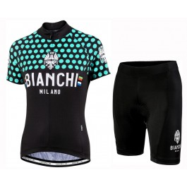 2019 Bianchi Dot Green Women's Cycling Jersey And Shorts Kit