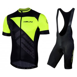 2019 Nalini Volata 2.0 Black-Yellow Cycling Jersey And Bib Shorts Kit