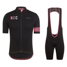 2019 Rapha RCC Black-Pink Cycling Jersey And Bib Shorts Kit