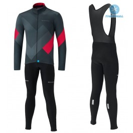 2019 Shimano Grey-Red Thermal Cycling Jersey And Bib Pants Kit