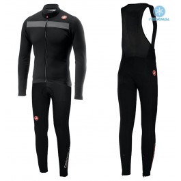 2019 Casteli Puro 3 Black Thermal Cycling Jersey And Bib Pants Kit