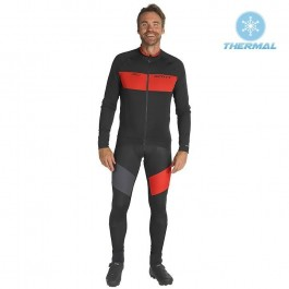 2019 Scott RC FF Black-Red Thermal Cycling Jersey And Bib Pants Kit
