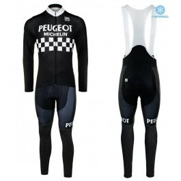 Peugeot Michelin Team Black Thermal Cycling Jersey And Bib Pants Kit