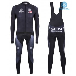 2016 GCN Sleek H20  Black Thermal Long Cycling Long Sleeve Jersey And Bib Pants Set