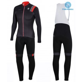 2016 Sportful JSW Black Thermal Long Cycling Long Sleeve Jersey And Bib Pants Set