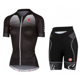 2017 Castelli Aero Race Women's Black Cycling Jersey And Shorts Set