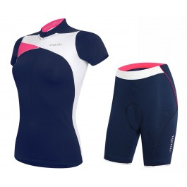 2017 Rh+ Trinity Women's Blue-Pink Cycling Jersey And Shorts Set