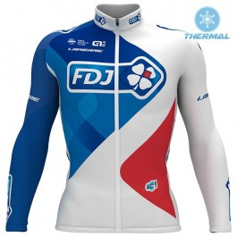 2017 Team FDJ White Thermal Long Sleeve Cycling Jersey
