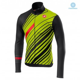 2018 Castelli Cielo Black Yellow Thermal Long Sleeve Cycling Jersey