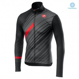 2018 Castelli Cielo Black Grey Thermal Long Sleeve Cycling Jersey