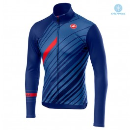 2018 Castelli Cielo Black Blue Thermal Long Sleeve Cycling Jersey