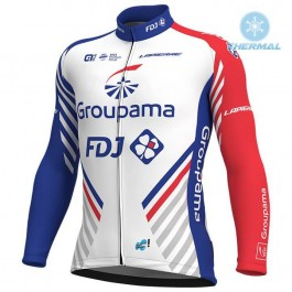 2018 Team FDJ White Thermal Long Sleeve Cycling Jersey