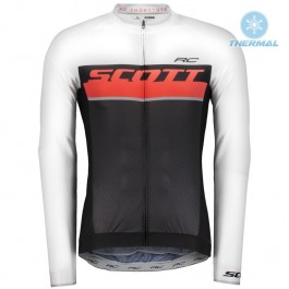 2018 Scott-RC Whte-Red-Black Thermal Long Sleeve Cycling Jersey