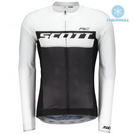 2018 Scott-RC Black-White Thermal Long Sleeve Cycling Jersey