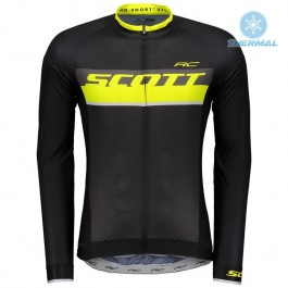 2018 Scott-RC Black-Yellow Thermal Long Sleeve Cycling Jersey