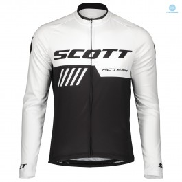 2019 Scott-RC-Team Black-White Thermal Long Sleeve Cycling Jersey