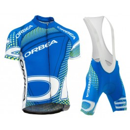 2015 Orbea Blue With Green Dot Cycling Jersey And Bib Shorts Set
