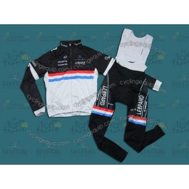 2011 Leopard Trek Luxembourg Champion Thermal Cycling Long Sleeve Jersey And Bib Pants Set