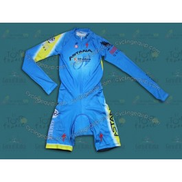2014 Team Astana Long Sleeve Cycling Skinsuit Time Trail Skin Suits