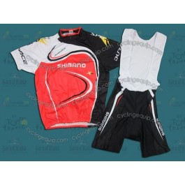 2011 Shimano Dur-Ace Balck And Red Cycling Jersey And Bib Shorts Set