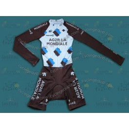 2014 Ag2r La Mondiale Long Sleeve Cycling Skinsuit Time Trail Skin Suits
