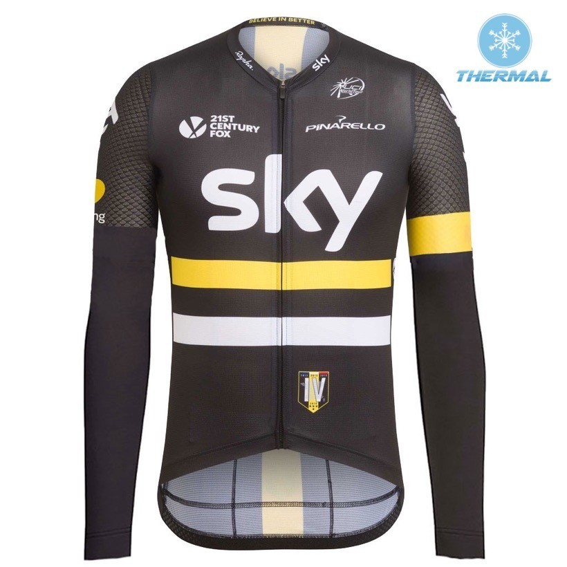 2016 Team Sky IV Black-Yellow Thermal Long Sleeve Cycling Jersey ffabd8d15