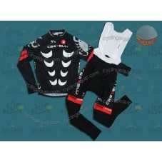 Castelli Black Thermal Cycling Long Sleeve Jersey And Bib Pants Set