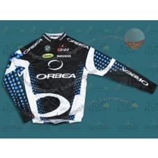 2011 Orbea Black and Blue Dot Thermal Cycling Long Sleeve Jersey