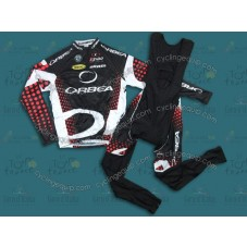 2011 Orbea Black and Red Dot Cycling Long Sleeve Jersey And Bib Pants Set