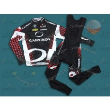 2011 Orbea Black and Red Dot Thermal Cycling Long Sleeve Jersey And Bib Pants Set