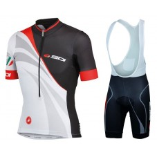 2017 Sidi Black-White Cycling Jersey And Bib Shorts Set