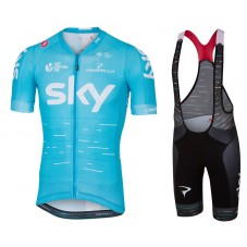 2017 Team Skу Blue Cycling Jersey And Bib Shorts Set