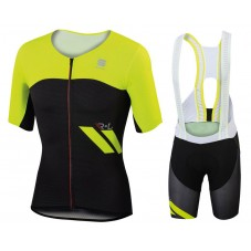 2017 Sportful R&D Cima Yellow Cycling Jersey And Bib Shorts Set