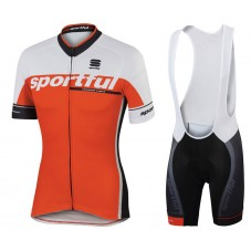 2017 Sportful SC Team Orange Cycling Jersey And Bib Shorts Set