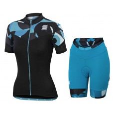 2017 Sportful Primavera Women's Blue Cycling Jersey And Shorts Set