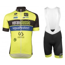2017 WB Veranclassic Aquality Yellow Cycling Jersey And Bib Shorts Set